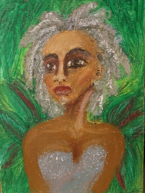 "Original Drawing Portrait, HER OWN, Black Art, African American Artist Stacey Torres, Oil Pastels on 5x7"" Canvas Panel Black gray hair"