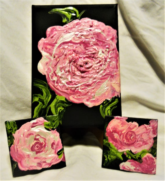 "Set of 3 Acrylic Paintings on (1) 5 x 7"" and (2) 2-5/8 x 2-5/8"" canvases, PINK ENGLISH ROSES, by Award Winning Artist Stacey Torres"