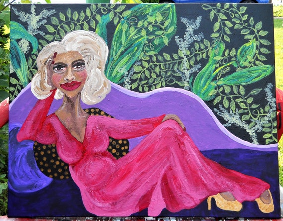 "CINNAMON Acrylic Painting on 30x24"" canvas, Outsider Folk Art, Women of Color, African American Artist Stacey Torres black art"