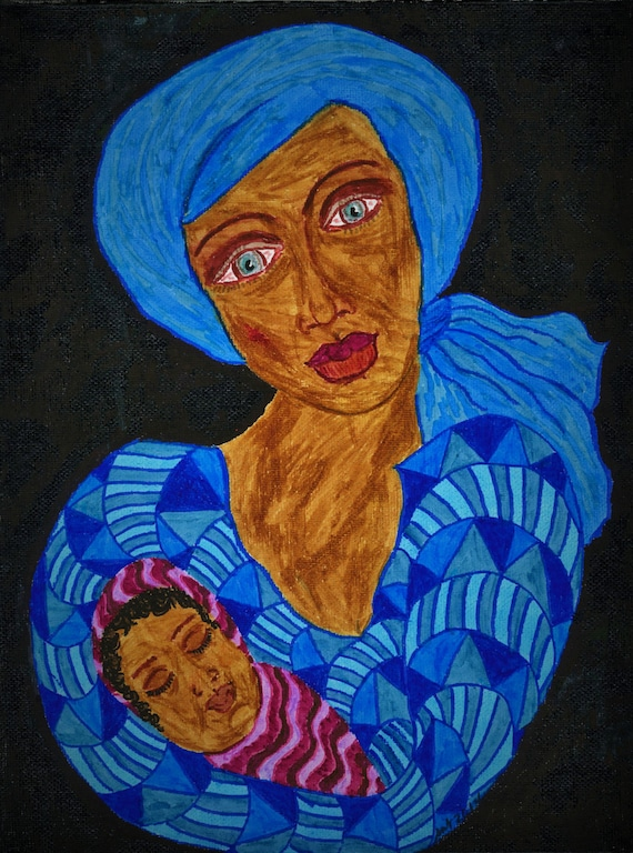 "Framed Giclee Print, ""Son of Mary,"" Ethnic Folk Art black madonna, women of color African American Artist Stacey Torres"