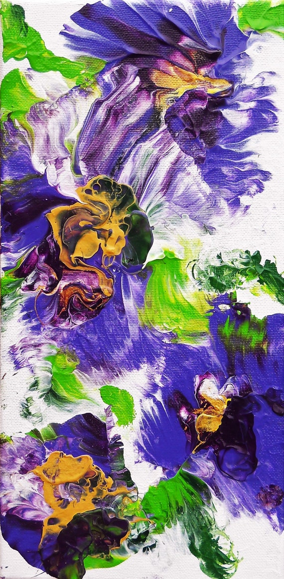 "Oiseau Bleu, Acrylic Painting on 14 x 7"" Canvas,  Abstract Impressionism, Stacey Torres Artist, Floral Art, Purple Blue Hibiscus, Flowers"