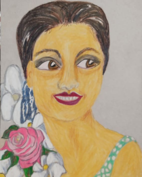 "Original Drawing Portrait, FLORENCE, Black Art, African American Artist Stacey Torres, Colored Pencils on 5x7"" Matboard Black History Month"