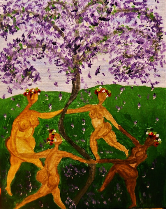 "Folk Art Acrylic Painting, ""Sister Tree 4,"" 14 x 11"" canvas panel by Folk Artist Stacey Torres, African American & Women's Art, framed"