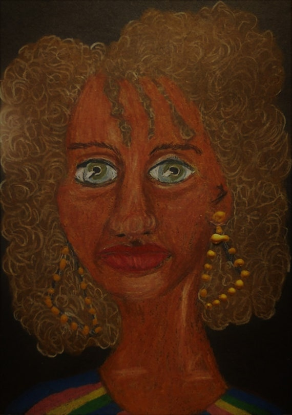 "Original Drawing Portrait, KNOWING, Black Art, African American Artist Stacey Torres, Colored Pencils on 5x7"" Matboard Black History Month"