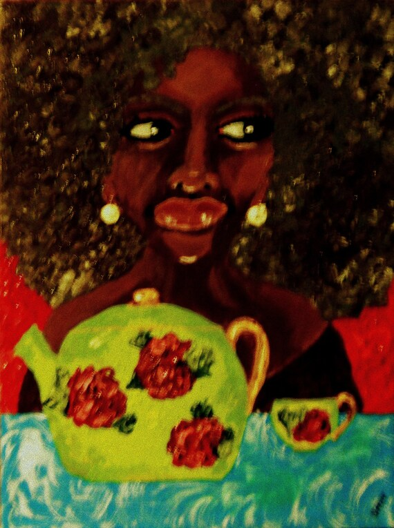 "WHERE'S M' SAUCER?, Acrylic Afrocentric portrait of a woman about to spill the tea -  12 x 16"" Canvas, by Outsider Folk Artist Stacey Torres"