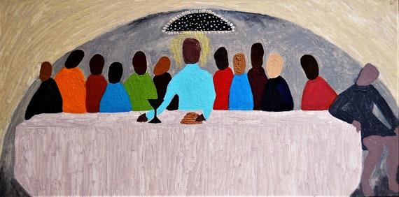 """THE FIRST COMMUNION, Acrylic Painting on 12 X 24"""" Canvas Panel, Folk Art, Stacey Torres Artist, Folk Rendering of The Last Supper"""