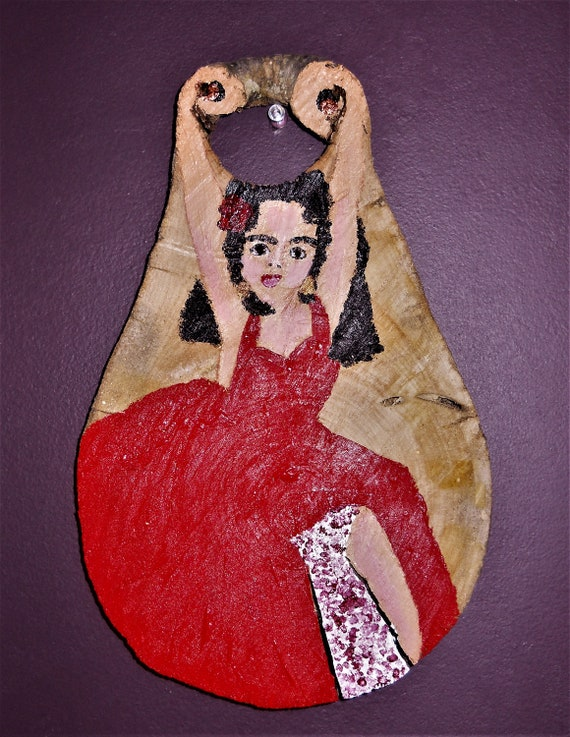 Original Acrylic Painting on Wood Slice, THE FLAMENCO DANCER, Outsider Folk Art woman in red dances by Stacey Torres
