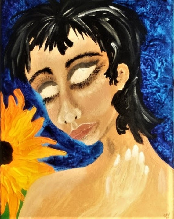 """Original Portrait - """"PEELING THE LAYERS,"""" Acrylic Painting, 14 x 11"""" Canvas. Outsider Art, by Folk Artist Stacey Torres, women's art"""