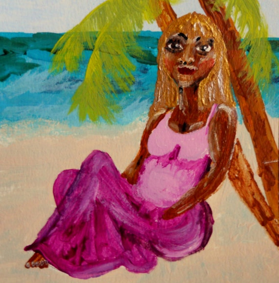 "6x6"" Painting Acrylic on Watercolor Paper, framed, ""DAPHNE"" Ethnic Folk Art women of color African American Artist Stacey Torres"