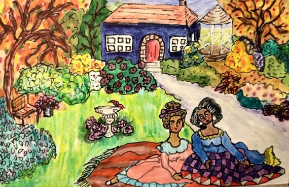 MY MOTHER'S QUILT, ink & wash, black women with purple quilt, fall trees, autumnal garden, blue house, ink, watercolor and colored pencils