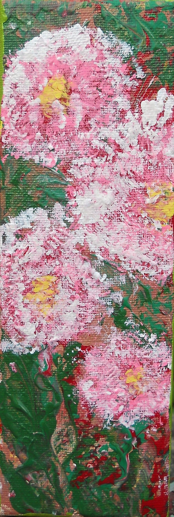"Original Art ""CARNATIONS"" Acrylic Abstract Impressionism Painting, 9 x 3"" Canvas, by Award Winning Artist Stacey Torres, floral art, pink"