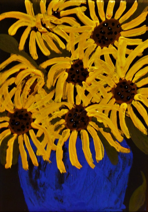 "Acrylic painting on 5x7"" black canvas, ""Rudbeckia fulgida"" by Award Winning Outsider Folk Artist, Stacey Torres, Blackeyed Susans"