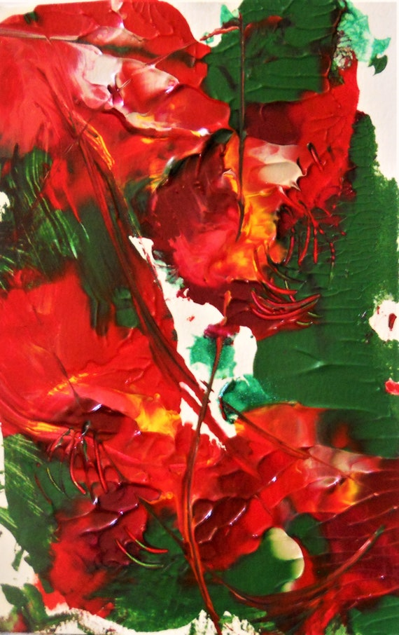 "WILD ROSES 1 & 2 Abstract Acrylic Flower Painting on 9 x6"" mix media paper, acrylic, by Outsider Stacey Torres Artist, Flowers (2 Pieces)"