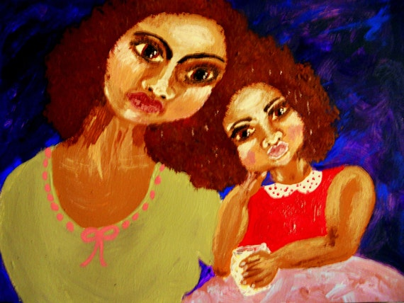 "Painting Original Acrylic, ""LETTING HER KNOW"" Black Art, Mother & Daughter, African American Art by Stacey Torres"