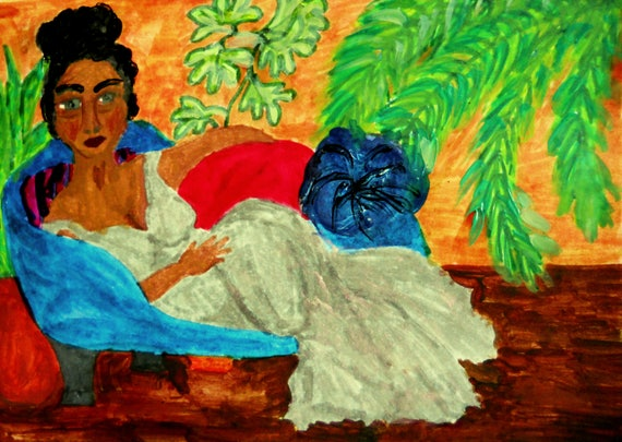 BRENDA, 5x7 African American Art Hand Painted Boudoir Painting on cardstock, Artist Stacey Torres woman lounging blue chair