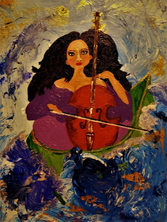 "Original Acrylic Painting, ""Playing Through The Storm,'' by Award Winning Hoosier Artist Stacey Torres, woman with cello in a boat"