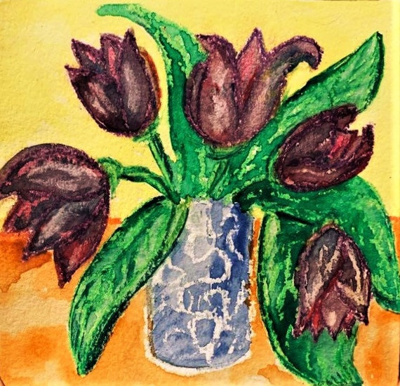 "MIDNIGHT TULIPS, Watercolors & Oil Pastel Painting Still Life on 6x6"" watercolor paper, dark purple tulips in a vase by Artist Stacey Torres"