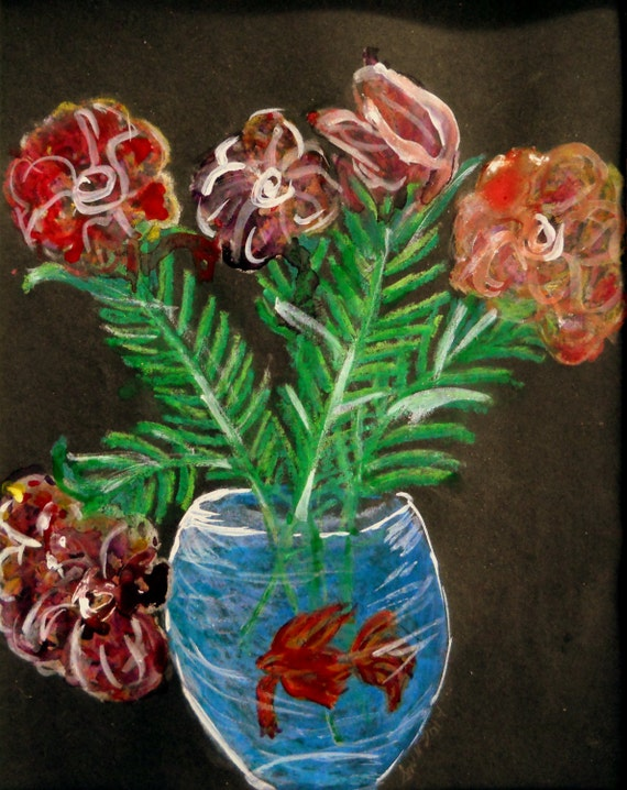 "Oil Pastel & Ink Drawing, ""Still Life, For Sure!"", on 8 x 10"" black card, by Artist Stacey Torres"