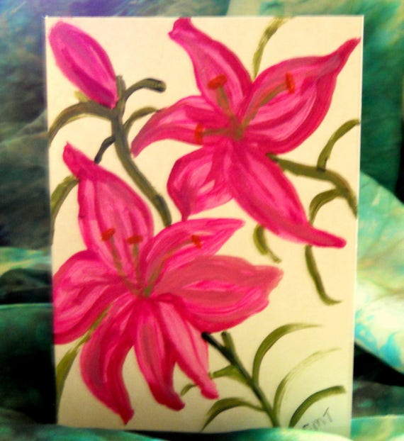 Original Hand Painted Blank Note/Greeting Card, Acrylic Painting, pink LILY 1, Folk Art Keepsake, Signed Artwork by Stacey Torres