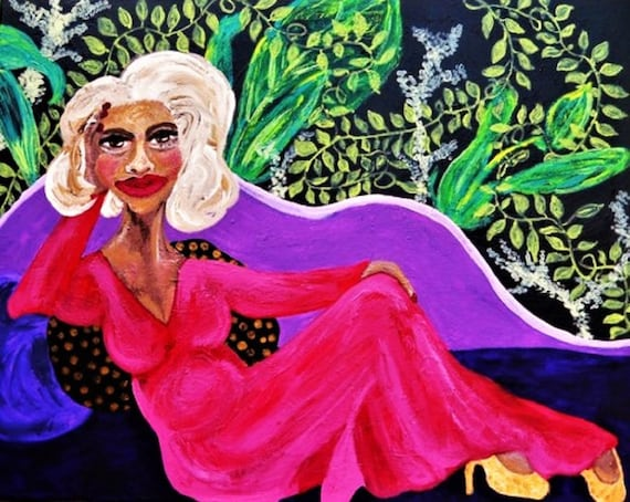 """CINNAMON Acrylic Painting on 30x24"""" canvas, Outsider Folk Art, Women of Color, African American Artist Stacey Torres black art"""