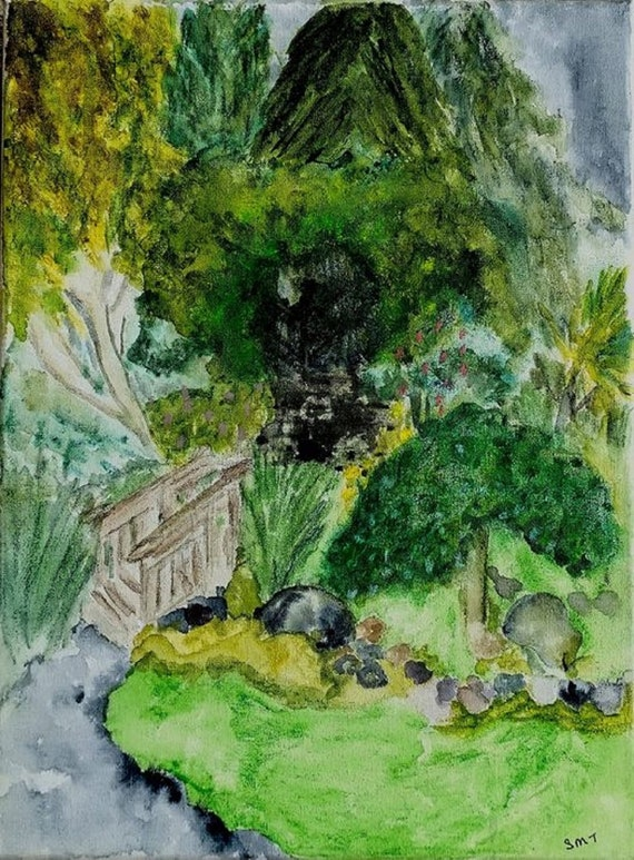"""OUR ARTS PARK 2021 Plein Air Watercolor Landscape Painting, Abstract Impressionism, 12x9"""" watercolor canvas, by Artist, Stacey Torres, trees"""