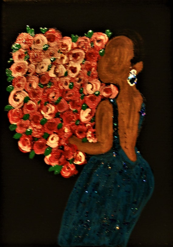 "Acrylic painting on 5x7"" black canvas, woman w/roses, by Award Winning Outsider Folk Artist, Stacey Torres, ""WELL DONE!"""