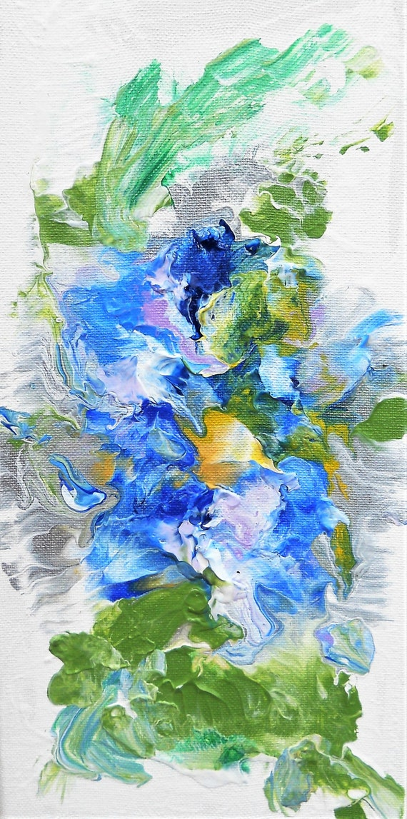 "MORNING GLORY 1, Acrylic Painting on 14 x 7"" Canvas,  Abstract Impressionism, Stacey Torres Artist, Floral Art, Blue Flowers"