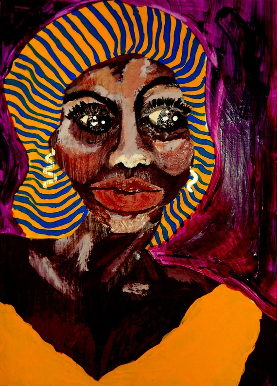 "AUNT LORNA 2, Acrylic painting on 10 x 13.75"" primed cardboard, Outsider Folk Art, African American Artist Stacey Torres"