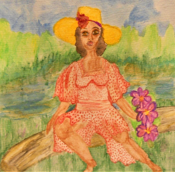 "Original Painting, AUNT RAE, Women's Art, Black Art, African American Artist Stacey Torres, Watercolor Pencils, on 8 x 8"" Watercolor Paper"