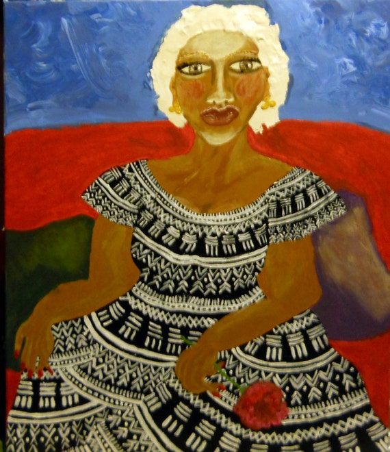 "Acrylic Painting of Woman, 24 x 20"" Canvas , KADIATOU, Ethnic Folk Art  by African American Artist Stacey Torres"