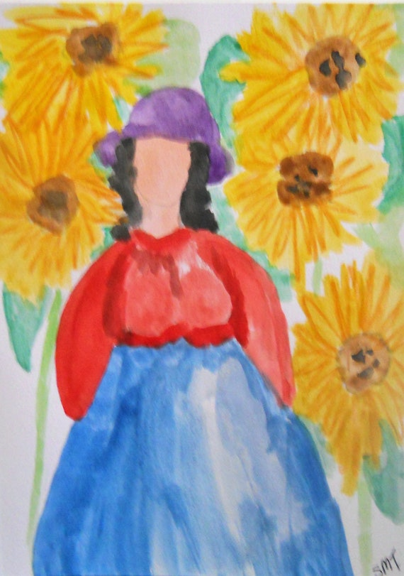 Original Hand Painted Blank Note/Greeting Card w/Envelope, Watercolor Painting, Signed Artwork by Stacey Torres, Card 22