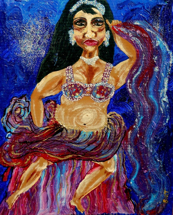 "BATHSHEBA, Mix Media Painting on 16 x 20"" primed cardboard, African American Art, by Artist Stacey Torres, portrait"