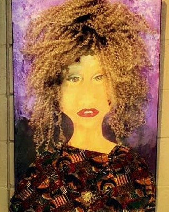 "Not Then Not Now Not Ever! Mix Media Painting on 36 x 24"" canvas, African American Art, by Outsider Folk Artist Stacey Torres, portrait"