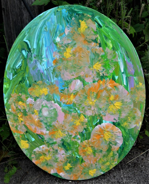 "FOUR O'CLOCKS, Acrylic Floral Painting, Abstract Impressionism, on a 20 x 16"" oval cotton canvas, peach, papaya, green, yellow Stacey Torres"