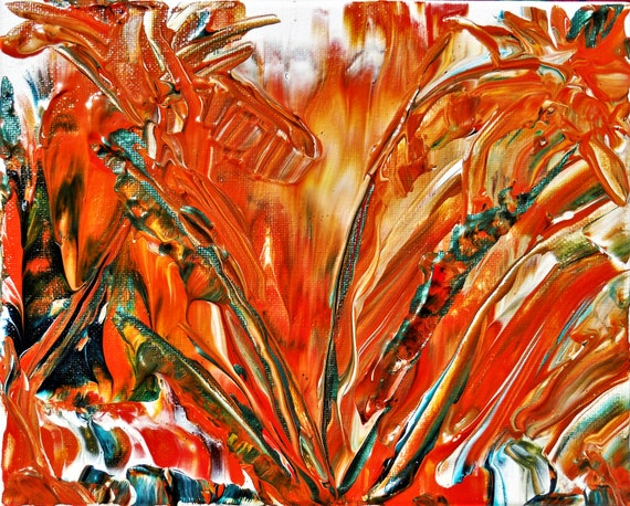 "BROMELIAD, Acrylic & Enamel Floral Painting, Abstract Impressionism, bright tropical colors on a 10x8"" canvas, orange gold green papaya"