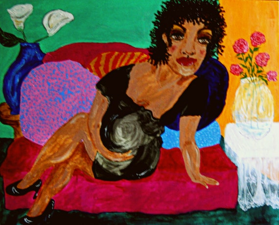 """PAZIENZA Acrylic Painting on 30x24"""" canvas, Outsider Folk Art, Women of Color, African American Artist Stacey Torres black art"""