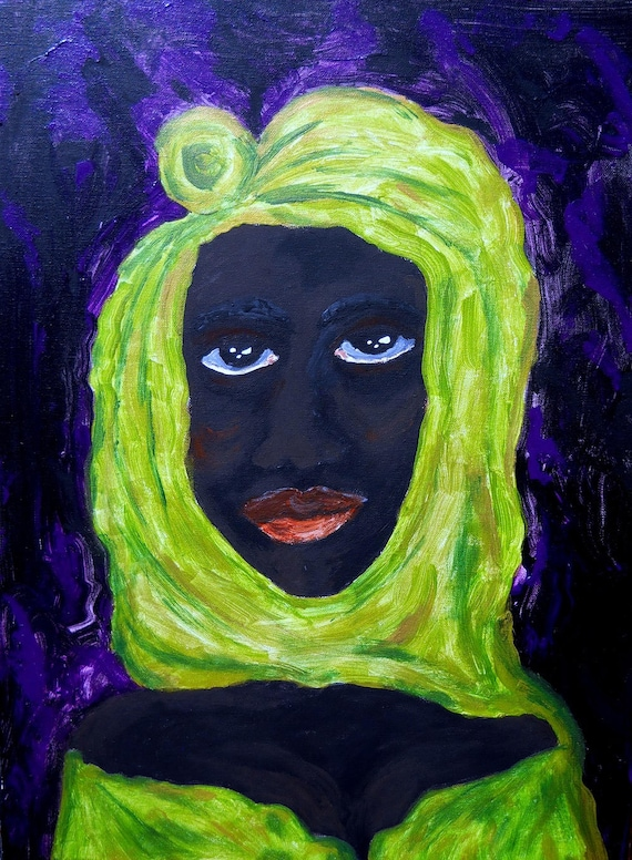 "Portrait of Black Woman, Acrylic on 24 x 18"" Canvas , ""ADANYA"" Ethnic Folk Art by African American Artist Stacey Torres"