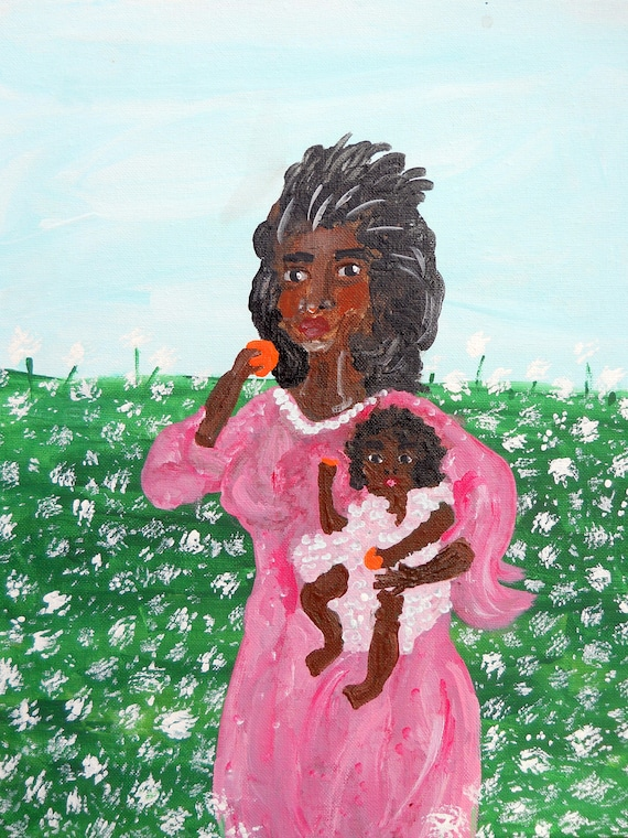 "Folk Art Acrylic Painting, ""Morning Stroll,"" 18 x 14"" canvas by Folk Artist Stacey Torres Mother & Daughter, pink, Madonna, African American"