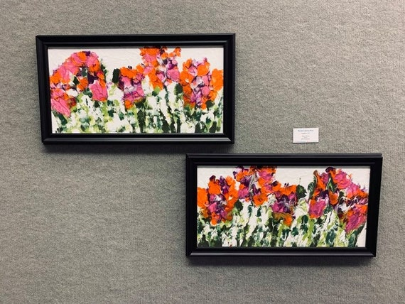 """IMPATIENS 1 & 2, Acrylic Painting w/palette knife on 12 x 24"""" Canvas Panel,  Abstract Impressionism, Stacey Torres Artist, Floral Art"""