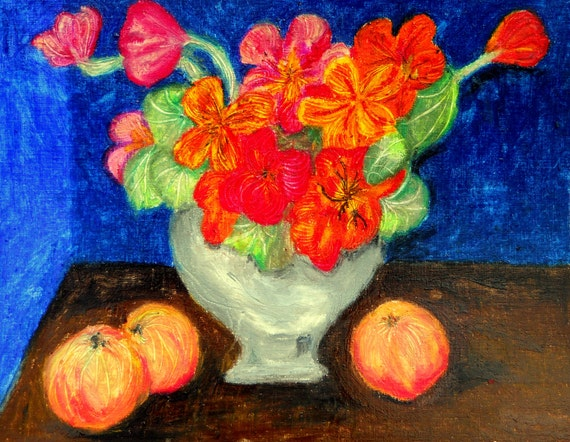 "NASTURTIUM & PEACHES Oil Pastel Painting Still Life on 11X14"" acrylic paper Folk Art Hoosier Artist Stacey Torres"