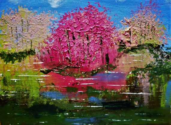 "SPRING LAKE Acrylic Landscape Painting, Abstract Impressionism, 8x10"" canvas panel, by Artist, Stacey Torres, pink trees, blue green"
