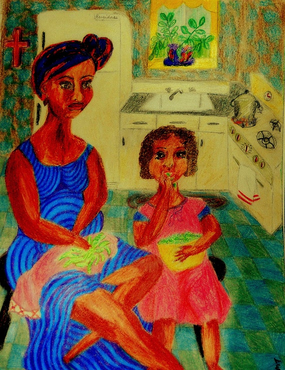 """Archival PRINT of Original Drawing, """"Shelling Day,"""" by Hoosier Artist Stacey Torres, Mother's Day"""