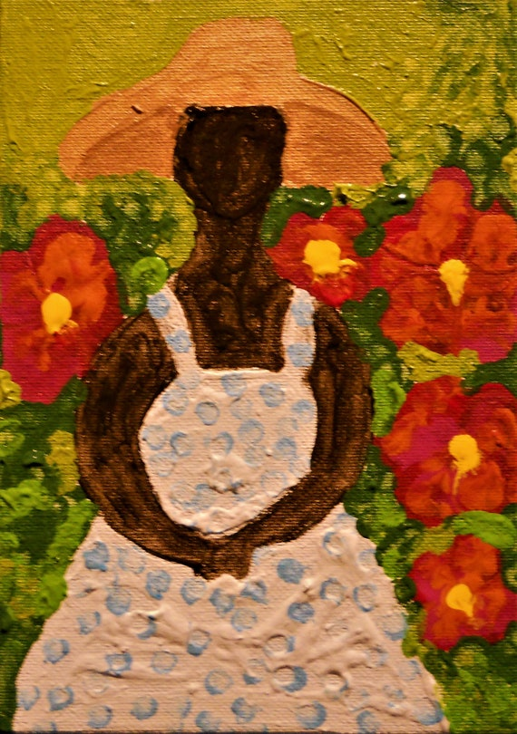 "MARY'S GARDEN, Acrylic Painting on 7 x 5"" Canvas Panel, Stacey Torres Ethnic Folk Art from Island Goddess Series Afro-Caribbean Folk Art"