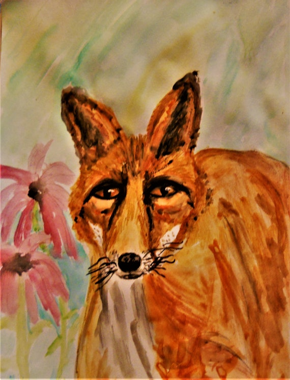"Watercolor Painting. ""An Old Fox In The Garden,"" a European Red Fox and Cone Flowers, on mix media paper by Artist Stacey Torres"
