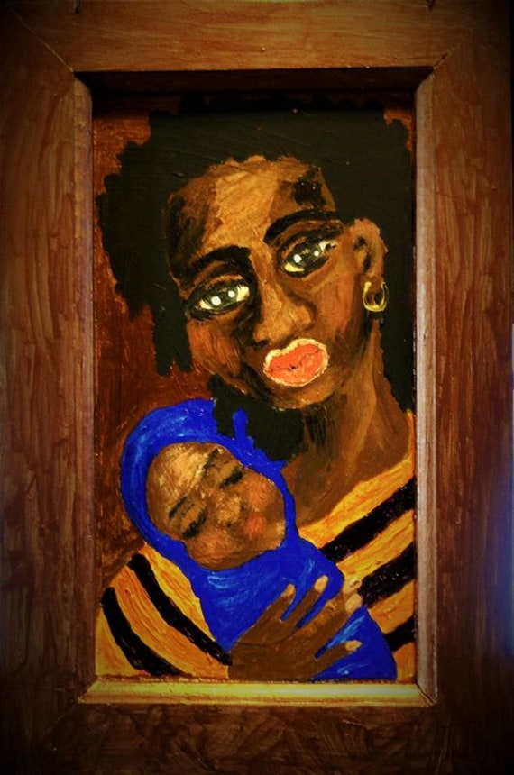 Black Madonna Acrylic Painting, Ethnic Folk Art by African American Artist Stacey Torres 2014, Mother & Child, Black Mothers, Mary and Jesus