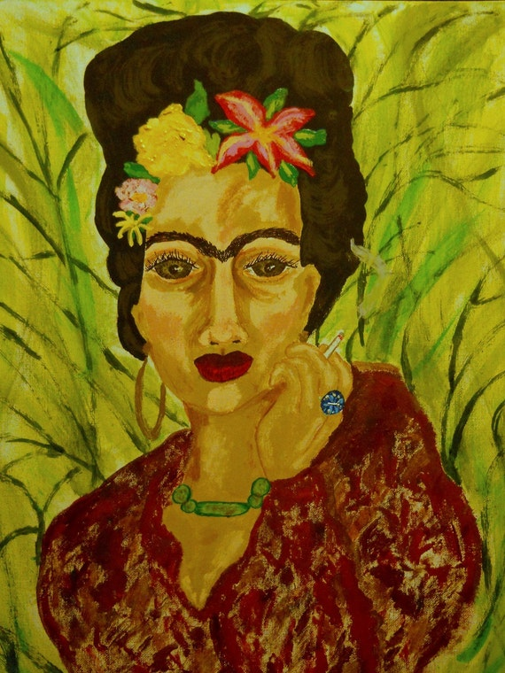 Framed Acrylic Painting FRIDA'S SOLITUDE Primitive Naive Folk Art Frida Kahlo Portrait 16x20 canvas panel Indiana Artist Stacey Torres 2014