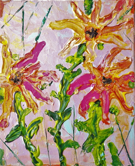 "CAFAYATE, Acrylic & Enamel Floral Painting, Abstract Impressionism, pastel tropical colors on a 10x8"" canvas, pink, lavender, papaya, green"
