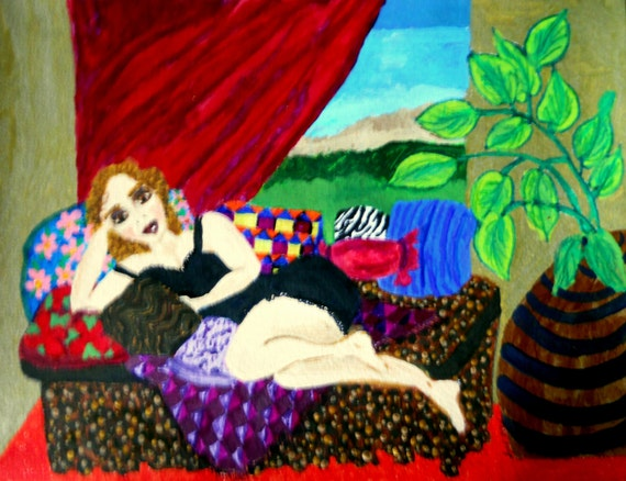 "GLORIA, Acrylic on 12 x 9"" acrylic paper, Strawberry Blond woman resting on a settee, Naive Outsider Art, African American Art Stacey Torres"