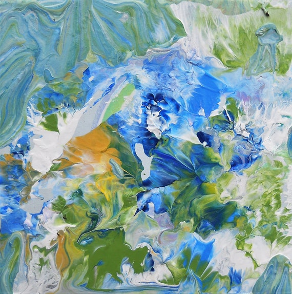 "MORNING GLORY 2, Acrylic Painting on 6 x 6 x 1.5"" Canvas,  Abstract Impressionism, Stacey Torres Artist, Floral Art, Blue Flowers"