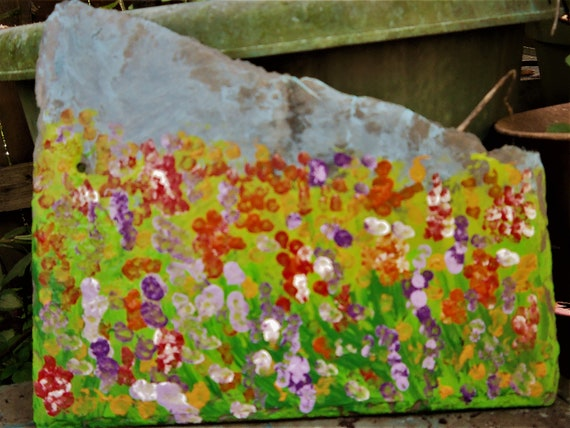Hand Painted Garden on Slate, SUMMER SPOT By Award Winning Folk Artist Stacey Torres - art acrylic slate shingle potted floral landscape